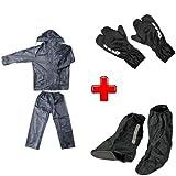 Compatible con green spark cubrezapatos L 42-46, cubreguantes, kit impermeable para moto scooter y bicicleta chaqueta con pantalón + cubrebotas + guantes universales
