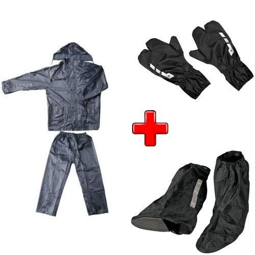 Compatible con Decathlon – Btwin Kit impermeable para moto scooter y bicicleta chaqueta con pantalón + cubrebotas + guantes universales