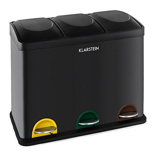 Ökosystem Cubos de basura para reciclaje 45L (3 basureros de 15 litros,mecanismo de pedal, identificación por colores)   negro