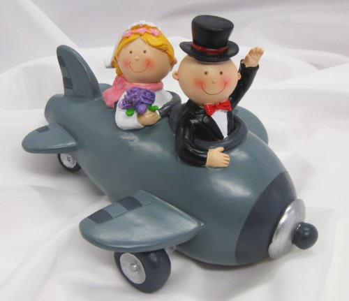 Spartopf Spardose Brautpaar im Flugzeug, ca. 18 cm