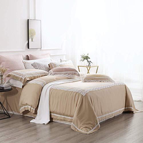 BBZZ Juego de funda de edredón de lujo de 4 piezas, diseño de encaje, princesa, 100% tencel lyocell para cama doble, súper suave, transpirable, camello, tamaño grande