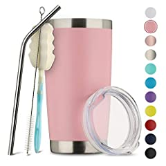 Exclusive award:offers unparalleled price performance: 1 unbreakable steel straw, 1 free straw brush, 1 free cup brush, making cleaning easier, 1 splash proof cover, and a beautiful gift box。With so many second-rate tumblers available on the market w...