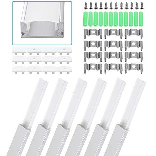 eSynic Perfil de Aluminio LED 6pcs 1M en Forma de U para Tiras de Luces Tiras de LED Canal de Aluminio para Tira de LED con Tapas de Extremo y Material de Montaje Universal