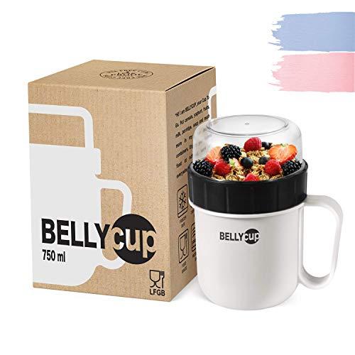 BELLYCUP Müslibecher To Go - BPA-frei – Ihr praktischer Müsli Becher für unterwegs – in Grau, Rosa oder Blau – Joghurt Porridge Salat Suppen Brei Becher to Go für die perfekte Mahlzeit zwischendurch