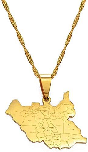 Yiffshunl Collar Mapa de Sudán del Sur Collares Mapas de Color Dorado de Sudán del Sur Joyería Colgante Collar de Cadena Regalo