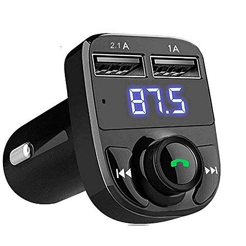 JSTBUY LABEL Hands-Free Wireless Bluetooth FM Transmitter 2.1 A Dual USB Port which Supports TF Card and U Disk Car Charger and Mp3 Music Stereo Adapter Compatible with Android and iOS (Black)