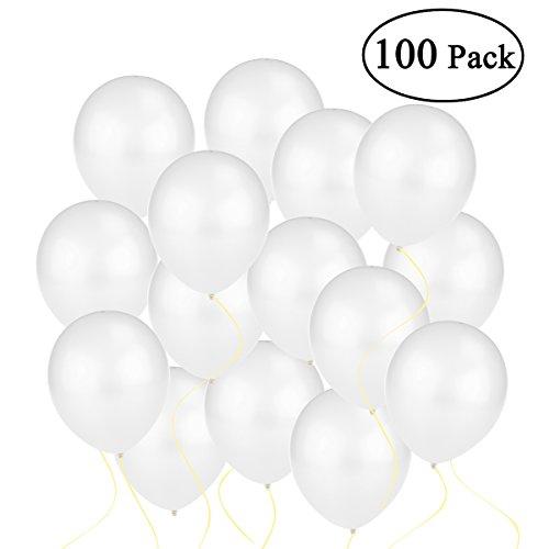 NUOLUX 100 Luftballons Metallic Perlen Weiß Qualitätsballons 30cm [Spielzeug]