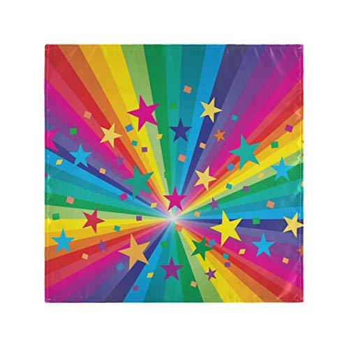 CPYang - Servilletas de Tela Multicolor con diseño de Estrella de arcoíris de Colores de 1 Unidad para Mesa de Cocina para cenas Familiares, Bodas, Fiestas, Banquetes, restaurantes, 50 x 50 cm