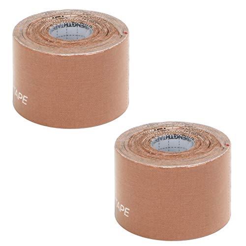 StrengthTape Kinesiology Tape, 2-inch x 16.4-Foot, Uncut Roll, 2-Pack (Biege)