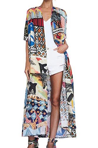 YouKD Damen Baumwoll Cardigan Bohemian Lang Kimono Beach Badeanzug Cover Up Kleid Plus Size Robe