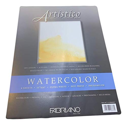 Fabriano Artistico 300 lb. Hot Press 4-Pack 11x14' - Extra White