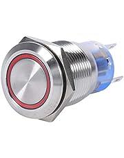 Zelfvergrendelende Schakelaar 19mm 12V LED Waterdichte RVS Zelfvergrendelende Knop Schakelaar (Rood)