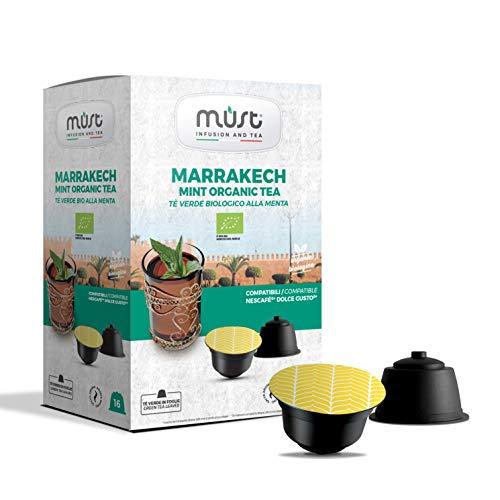 MUST 96 BIO GREEN TEA Cápsulas Autoprotegidas en Plástico 100% Reciclable MARRAKESH MINT TEA Paquete de 16 Cápsulas para 6 Paquetes Compatible con la Máquina Dolce Gusto Made in Italy