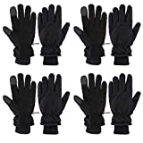 4 pares de guantes de invierno de piel de ciervo, guantes de motonieve resistentes al agua, guantes térmicos con forro polar aislado para esquí, senderismo, pesca