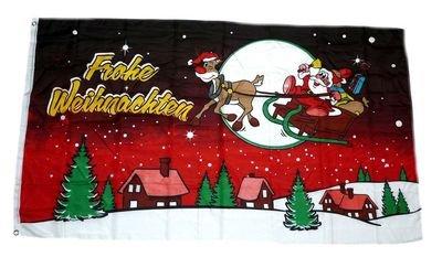 Fahne / Flagge Frohe Weihnachten Schlitten rot NEU 90 x 150 cm