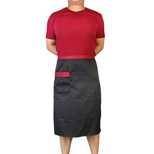 Pixnor Taille courte unisexe durable tablier avec poche pour Chef/Waiter/Waitress
