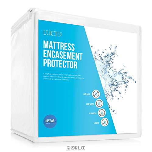 LUCID Encasement Mattress Protector-Guards Against Bed Bugs-100%...