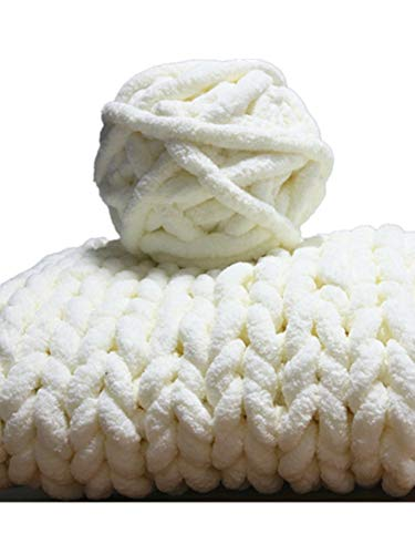 Super Bulky Chunky Blanket Chenille Yarn for arm Knitting, 56 Yards Polyester Easy Care Weaving Yarn Luxury Thick Yarns (Milk, 2 pack/16 oz/0.5kg)