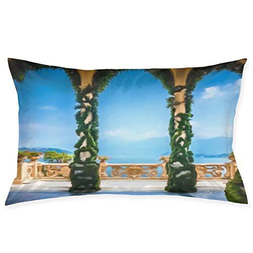 Italian Villa Beach Scene Turquesa Azul Mar 100% Fibra de poliéster Sueño de Belleza, Debido a la Salud del Cabello y la Cara, Funda de Almohada de 14 Pulgadas * 20 Pulgadas