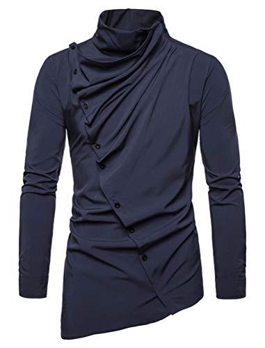 Blusas Hombre Moda Joven Hipster Camisa Top Manga Larga High Collar Irregular Diagonalmente Un Solo Pecho Plisado Blusa Tendencia Esenciales (Azul,XXL)