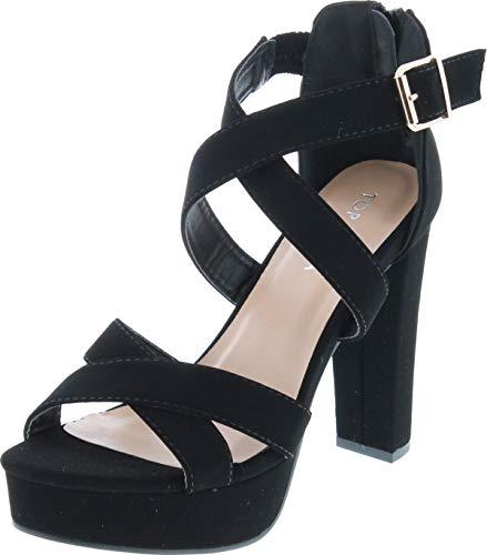 Top Moda Lovely-86 Women's Peep Toe Platform Chunky High Heel Closed Back Sandals,Black,6
