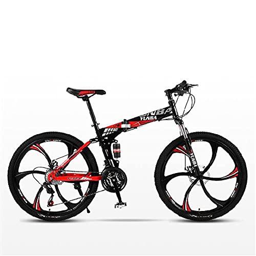 MENG Bicicletas Plegables, Bicicleta de Aluminio de Aleación de Aluminio de Acero Al Aluminio de Acero Alto de 26 Pulgadas de 26 Pulgadas para Uso Diario de Viaje Largo Viaje,Rojo,26 Pulgadas