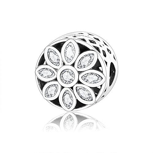 Pandora 925 colgante de plata esterlina DIY auténtica flor de cristal Clip encantos abalorios encantos pulseras collares fabricación de joyas