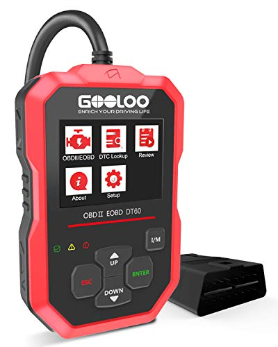 GOOLOO OBD2 Scanner Code Reader OBDII Scan Tool Diagnostics Automotive Engine Light Fault Car I/M Readiness Status and Quick Smog Check for CAN PWM KWP2000 Vehicles (DT60)