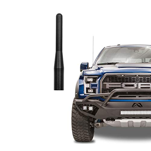 Black 3.6 Inch AM FM Radio Short Antenna for Ford F-Series (1999-2021) Fits for Ford F150 F 150 SVT Raptor F250 F350 F450 Piclups Trucks Car Wash Safe T6061 Solid Aluminum Truck Antenase