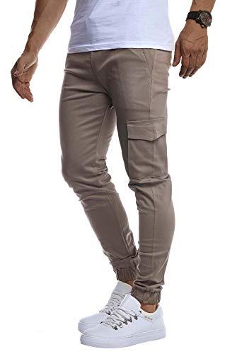 Leif Nelson Herren Jogger Chinos Cargo Stretch Jogging Männer Basic Jogg Cargohose Streifen Jogginghose Jungen Freizeithose Jeans-Hosen Sweatpants Streifen Chinohosen LN8071 Grau Medium