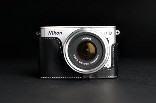 Nikon ニコン Nikon 1 J3用本革カメラケース ブラック、ブラウン (カメラケース&ストラップLK09&バッテリーケース, ブラック)