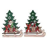 Amosfun 2 Piezas Adorno de Trineo de Navidad Adornos de Mesa de Madera de Navidad Santa Claus muñeco de Nieve árbol de Navidad (Estilo Aleatorio)