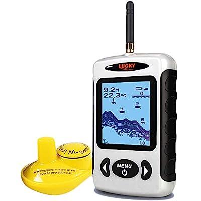 Lucky Wireless Fish Finder Sonar Sensor Portable Sonar Fishfinder LCD Display Depth Finders for Fishing Ice Fishing Kayak Fishing