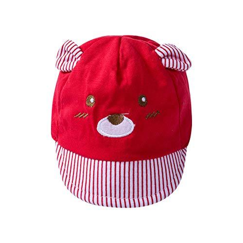 Carolilly Sonnenhut Baby Mädchen Baseballkappe Junge Schirmmütze Unisex Baby Sonnenhut Kleinkind Sonnenschutz Sommer Strandhut (rot, OneSize)