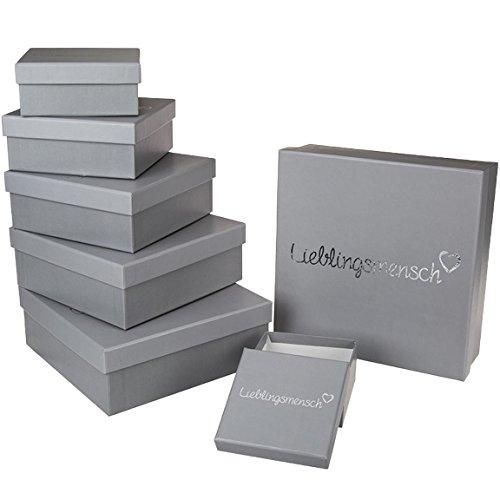 Bada Bing 8er Set Geschenkkartonage Mit Deckel Grau Silber Aufdruck Lieblingsmensch Geschenkverpackung Karton Geschenk Hochzeit Herz 86