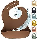 Silikon Baby Lätzchen mit Auffangschale | Silikonlätzchen Clay für Junge/Mädchen | BPA-frei, Ergonomisch, Wasserdicht, Abwaschbar & leicht zu reinigen (Clay, Braun)