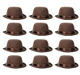 Beistle 60336 12 Piece Bowler Hats, Brown