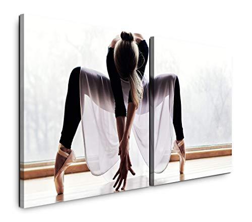 Paul Sinus Art GmbH Ballett Tänzerin 120x60cm - 2 Wandbilder je 60x60cm Kunstdruck modern Wandbilder XXL Wanddekoration Design Wand Bild