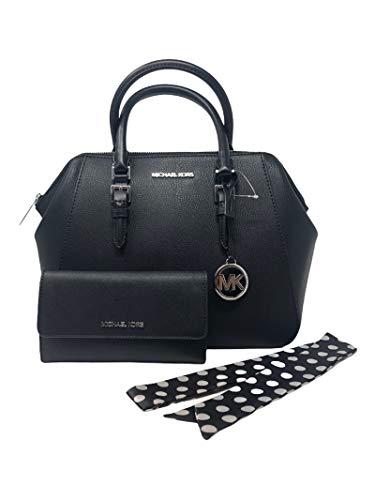 MICHAEL KORS Charlotte Large Satchel Shoulder Handbag Crossbody Leather Bundled with Wallet and Removable NL Silk Skinny Scarf (Black Silver Hardware)