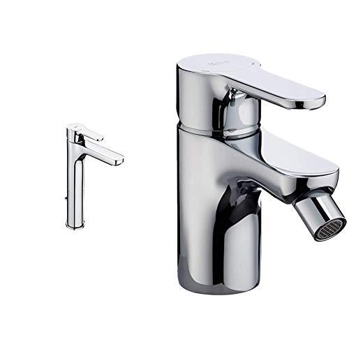 Roca A5A3C09C00 Mezclador monomando para lavabo, cromo + Roca A5A6B09C00, Grifo Monomando para Bidé con Enganche para Cadenilla, Cromado