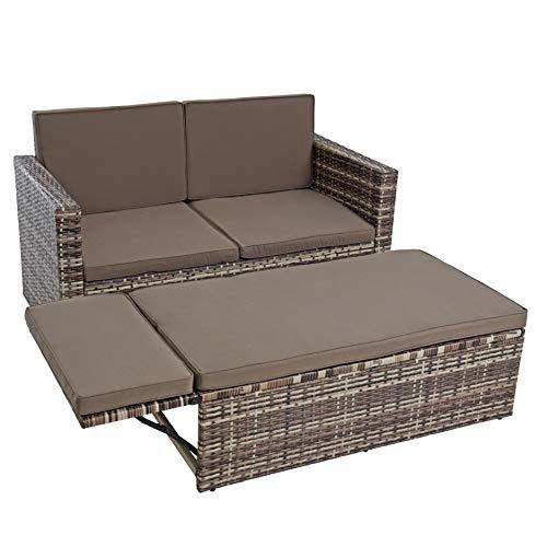 IHD Polyrattan Sitzgruppe Essgruppe Gartenmöbel Set Gartensofa Rattan Sofa mit Hocker ausklappbar Sofa-Set Rattan-Couch Sitzgruppe Lounge Set Ottomane (Beige-Braun)