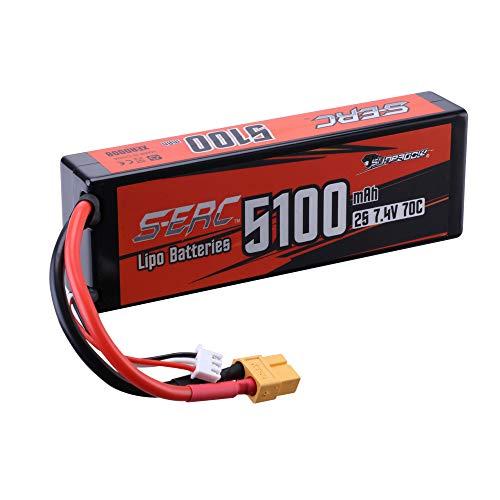 SUNPADOW 2S 7.4V Lipo Battery 5100mAh 70C Hard Case with XT60 Connector for...