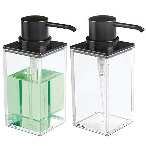 mDesign Juego de 2 dosificadores de jabón recargables – Útil dispensador de jabón líquido de aprox. 300 ml – Elegante dispensador de jabón de manos de plástico para el baño – transparente/negro