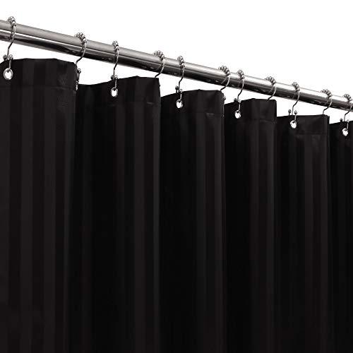 Stoff-Duschvorhang oder -futter, Satin-Damast, gestreift, wasserdicht & maschinenwaschbar, Hotelqualität, Standardgröße 72 x 72 cm, Schwarz