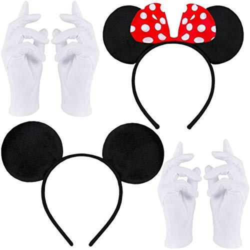 Doppelpack mit Maus Haarreifen | Maus Ohren mit roter Schleife und weißen Punkten + Maus Ohren in schwarz + 2 Paar weiße Handschuhe für Erwachsene und Kinder