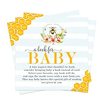 Mama to Bee Bring a Book for Baby  25 Pack  Baby Shower Invitation Insert Card - Raffle Game Idea – Gender Reveal – Bumblebee Floral Theme – Boy or Girl  4 x 4 Size  – Paper Clever Party