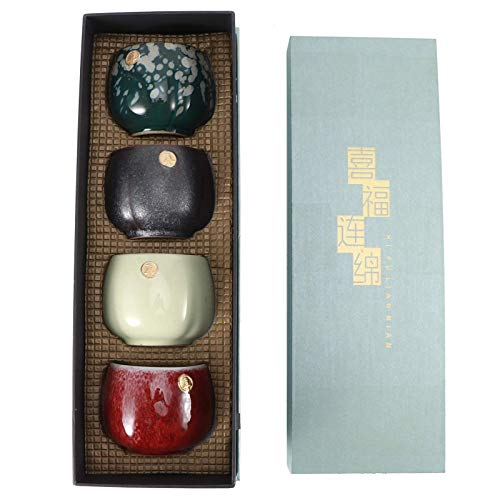 Juego de tazas de té de cerámica de 4 piezas, taza de té retro de estilo chino/japonés, taza de sake de té de Kung Fu, Servicio de Té Chino Hecho a Mano juego de regalo(#1)