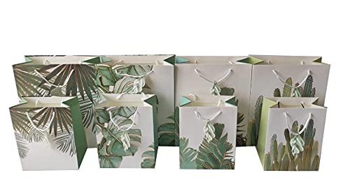 8 bolsas de papel para regalo con asas grandes y medianas con etiqueta 4 modelos hojas, resistentes, de calidad.