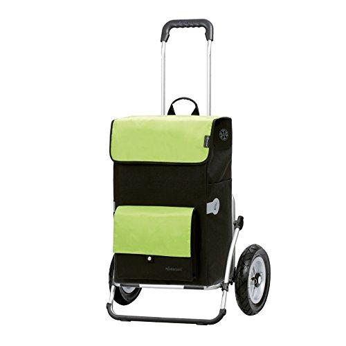 Andersen Einkaufstrolley Royal XXL klappbar mit luftbereiftem Kugellagerrad 25 cm und 45 Liter Einkaufstasche Asta schwarz/grün mit Kühlfach