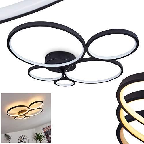 LED Deckenleuchte Rodekro, dimmbare Deckenlampe aus Metall in schwarz, über herkömmlichen Lichtschalter dimmbar, Zimmerlampe aus mehreren Kreisen, 1 x LED 49 Watt, 3000 Kelvin, 5600 Lumen